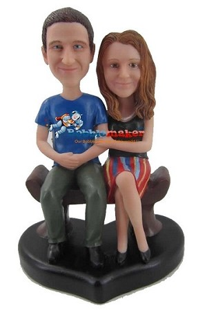 Custom Bobble Head | Couple On Heart Sitting Bobblehead | Gifts for Couples