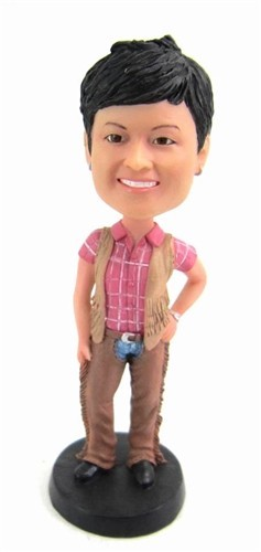 Custom Bobble Head | Cowgirl With Vest Bobblehead | Gift Ideas For Women