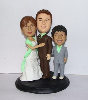 Wedding Couple With Child Custom bobblehead Doll