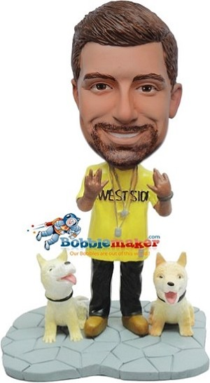 Custom Bobble Head | Rapper Male With Two Dogs Bobblehead | Gift For Men