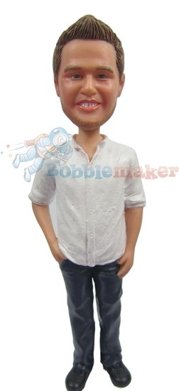 White Shirt Man bobblehead Doll