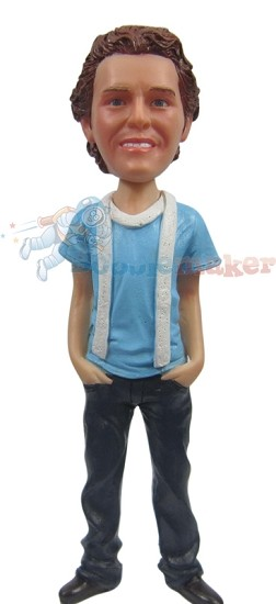 Custom Bobble Head | T-Shirt And Scarf Male Bobblehead | Gift For Men