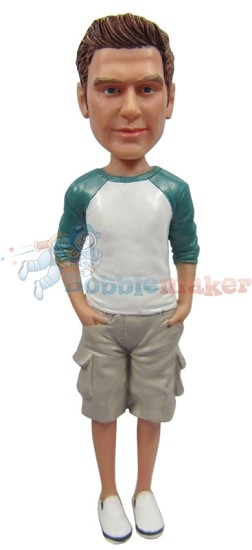 Custom Bobble Head | Baseball T-Shirt And Shorts Male Bobblehead | Gift For Men