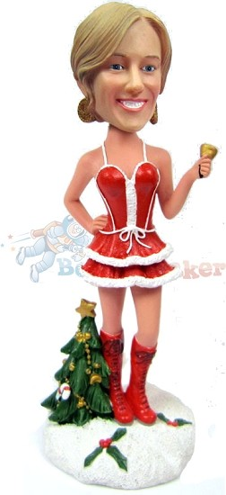 Custom Bobble Head Sexy Santa's Helper In Boots | Cool Christmas Gifts