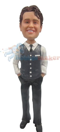 Vest And Tie Fashion Male bobblehead Doll