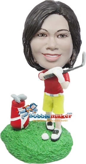 Female Golfer With Club bobblehead Doll