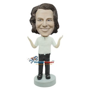 Arms Up Casual Male bobblehead Doll