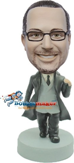 Businessman In Trench Coat bobblehead Doll