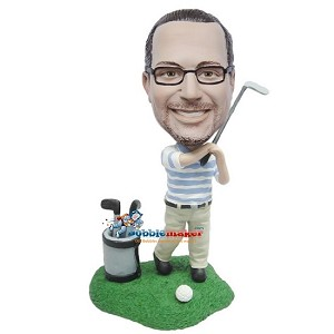 Custom Bobble Head | Man Next To Golf Bag Bobblehead | Gift Ideas For Men