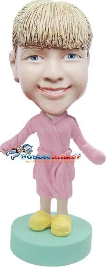 Woman In Bathrobe bobblehead Doll