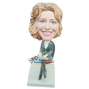 Woman In Office Chair bobblehead Doll