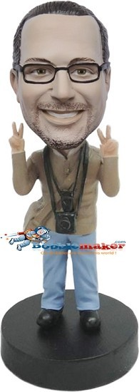 Peace Loving Photographer bobblehead Doll