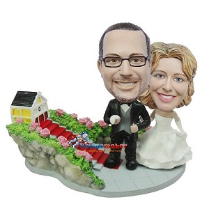 Leaving The Church Wedding Couple bobblehead Doll