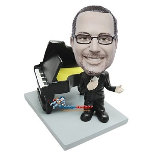 Male Next To Piano bobblehead Doll