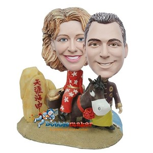 Custom Bobble Head | Cowboy Couple With Donkey Custom Bobblehead | Gifts for Couples