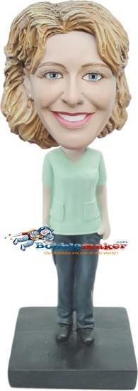 Simple Shirt Female bobblehead Doll