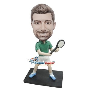 Custom Bobble Head | Backhanding Tennis Male Bobblehead | Gift Ideas For Men