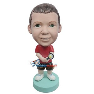 Tennis Playing Boy bobblehead Doll