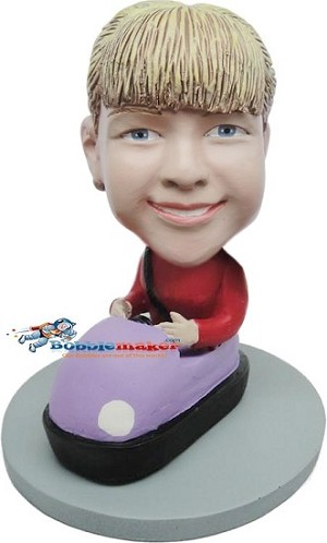Girl Driving Bumper Car bobblehead Doll