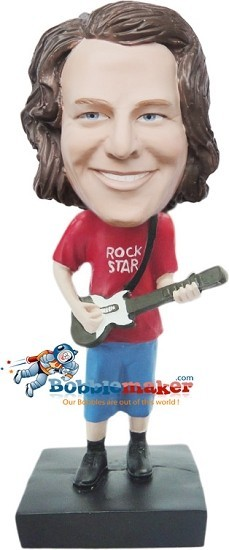 Custom Bobble Head | Casual Guitar Player Man Bobblehead | Gift For Men