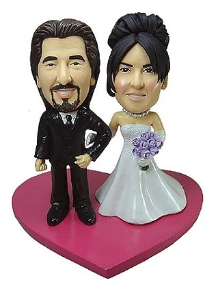 Custom Bobble Head | Arms Linked Bride And Groom Bobblehead | Gift Ideas For Wedding