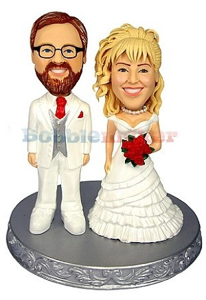 Custom Bobble Head | Red And White Bride And Groom Bobblehead | Gift Ideas For Wedding