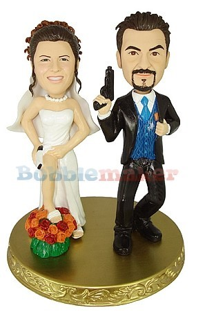 Undercover Bride And Groom Couple bobblehead Doll