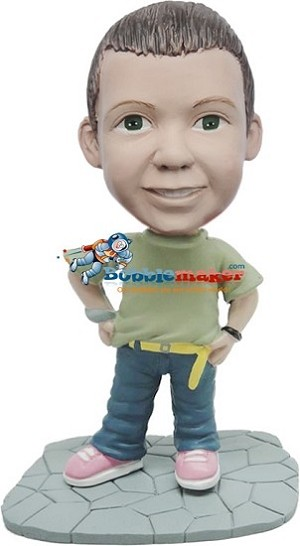 Custom Bobble Head | Boy With Tucked In T-Shirt Bobblehead | Gifts for Kids