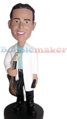 White Jacket Guitarist Male bobblehead Doll