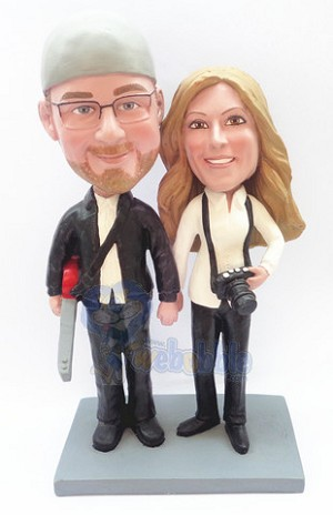 Guitar and Camera couple bobblehead Doll