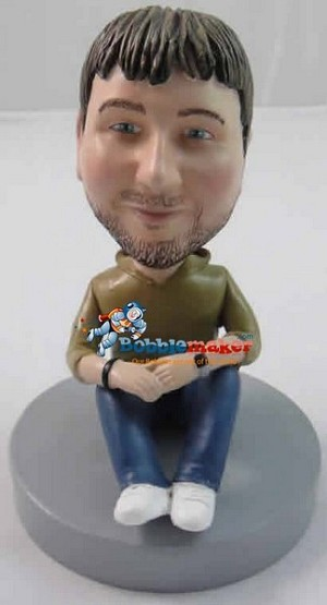 Sitting Casual Male bobblehead Doll