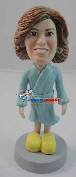 Female Wearing Bathrobe bobblehead Doll