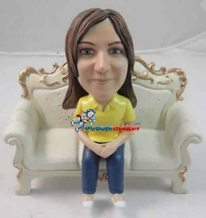 Woman On Couch bobblehead Doll