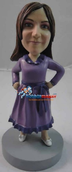 Woman In Classic Dress bobblehead Doll