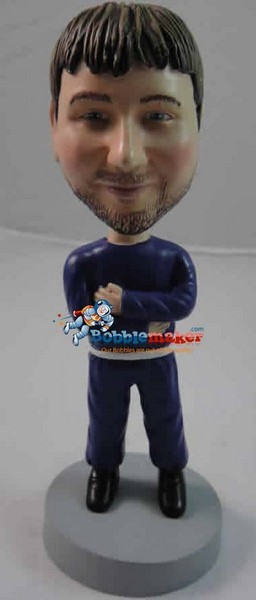 Man Hugging Self bobblehead Doll