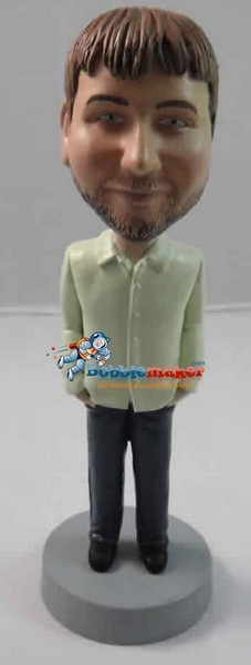 Custom Bobble Head | Casual Button Up Man Bobblehead | Gift Ideas For Men