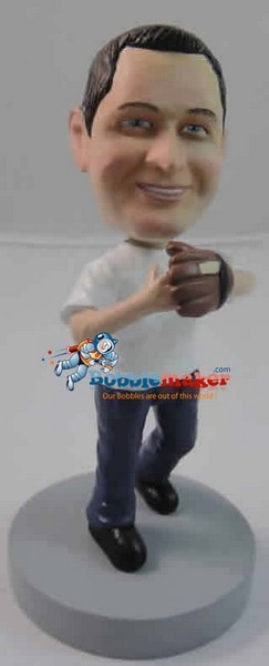 Man With Baseball Glove bobblehead Doll