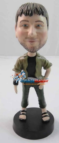 Casual Male With Sandals bobblehead Doll