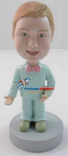 Colorful Bow Tie Kid bobblehead Doll