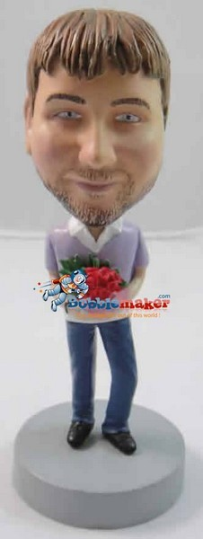 Man With Roses bobblehead Doll