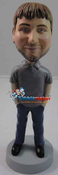 Polo Shirt Hands In Pockets Male bobblehead Doll