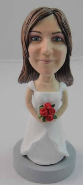 Custom Bobble Head | Bride Holding Roses Bobblehead | Gift Ideas For Women