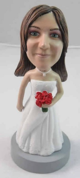 Bride With Roses In Left Hand bobblehead Doll