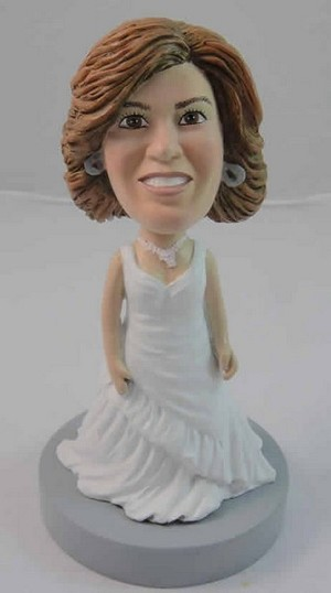 White Gown Bride bobblehead Doll