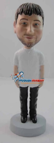 Custom Bobble Head | White Tee Man Bobblehead | Gift Ideas For Men