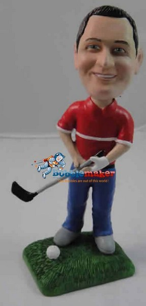 Golfer Man With Club bobblehead Doll
