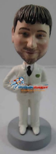 Custom Bobble Head | Groom In White Suit Bobblehead | Gift Ideas For Wedding