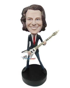 Custom Bobble Head | Skinny Man In Suit With Flying-V Guitar Bobblehead | Gift For Men