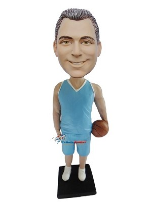 Custom Bobble Head | Basketball Player Male In Blue Uniform Bobblehead | Gift Ideas For Men