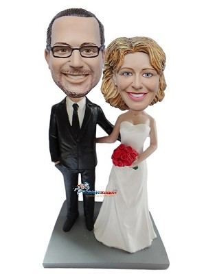 Custom Bobblehead | Arms Around Wedding Couple Bobblehead
